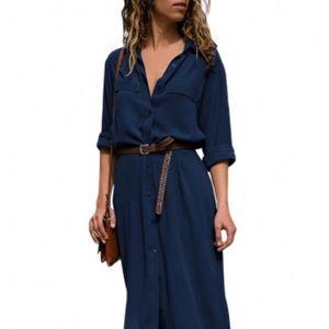 Dresses & Skirts - Dark Blue Slit Maxi Shirt Dress with Sash
